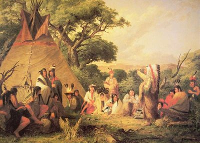 Sioux Indian Council, 1852 Wall Art & Canvas Prints by Captain Seth Eastman