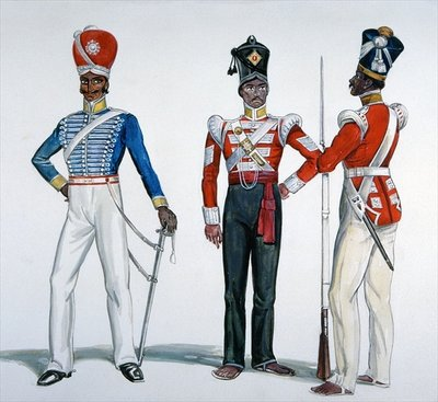 Indian Sepoy Uniforms at the time of the Indian Mutiny in 1857-58 Fine Art Print by English School