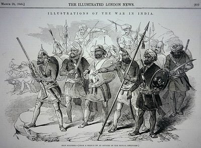 Sikh soldiers, from a sketch by an Officer of the Bengal Engineers, pub. in 'The Illustrated London News', 28th March, 1846 Fine Art Print by Indian School