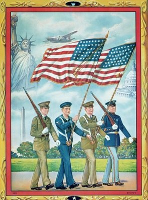 Mass-produced illustration of the victory march, 1945 Poster Art Print by American School