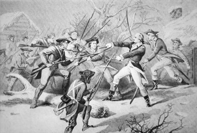 General Anthony Wayne attempts to quell a mutiny of Pennsyvanian troops from Morristown on New Year's Day 1781 Fine Art Print by American School