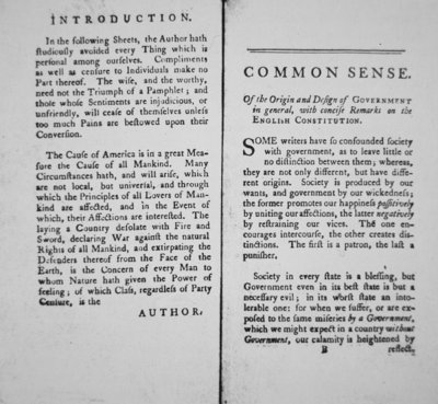 Introduction and first page of 'Common Sense' by Thomas Paine, 1776 Fine Art Print by American School