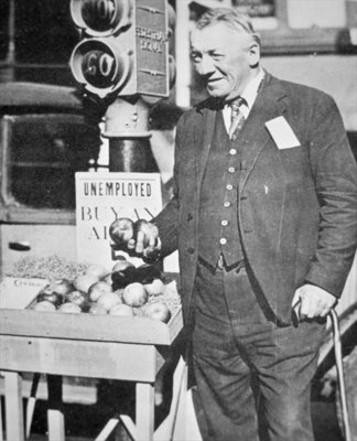 Fred Bell selling apples, 1931 Wall Art & Canvas Prints by American Photographer