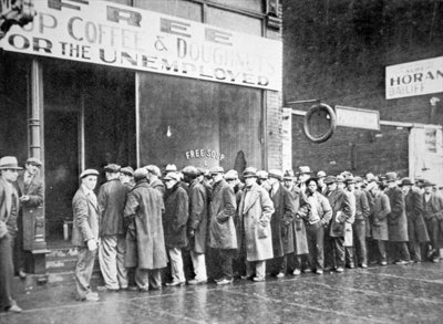 Queue for a soup kitchen for the unemployed in Chicago, c.1933 Fine Art Print by American Photographer