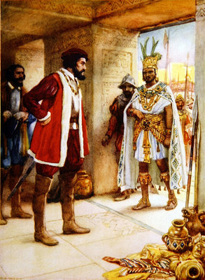 Hernan Cortes makes Montezuma a hostage in 1519 Fine Art Print by Spanish School