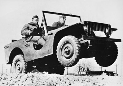 Early Jeep model on test run with US Army Fine Art Print by American Photographer
