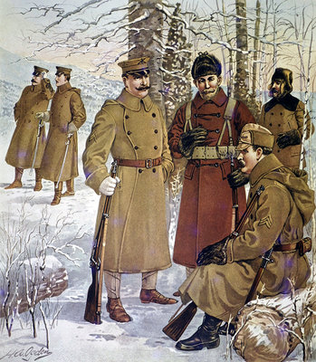 Winter uniforms of the U.S. Army of 1901-07 Fine Art Print by Henry Alexander Ogden