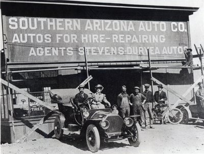 Early motor car and garage, Southern Arizona, c.1910 Wall Art & Canvas Prints by American Photographer