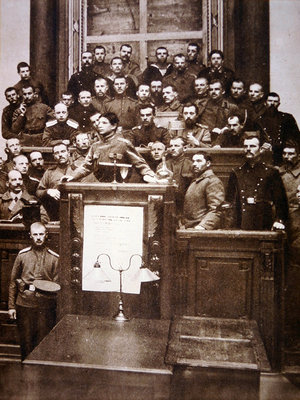 An early assembly of Bolsheviks in one of many 'Soviets', 1917 Fine Art Print by Russian Photographer