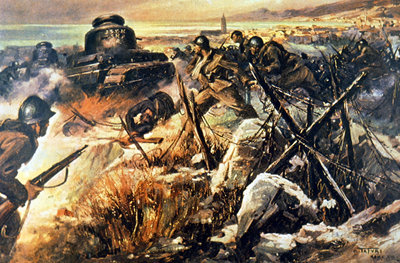 Italian troops from the Nationalist forces advance on Malaga, 1936 Fine Art Print by Italian School