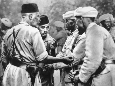Moorish soldiers fighting under Nationalist command in Burgos, 1936-39 Fine Art Print by Spanish Photographer