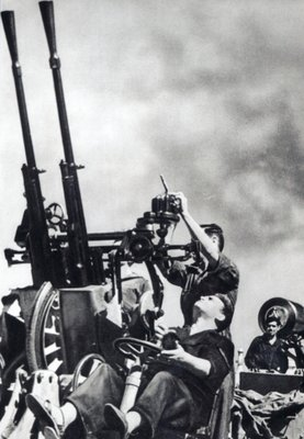 Anti-aircraft gun on the Republican warship 'Jaime I', 1936-39 Fine Art Print by Spanish Photographer