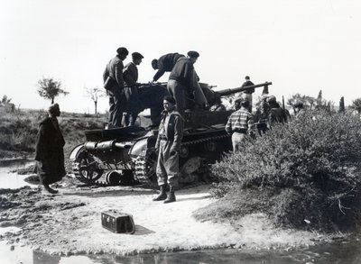 Rebel troops examine a Russian tank captured near Getafe, in the southern outskirts of Madrid, March 1939 Fine Art Print by Spanish Photographer