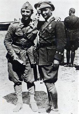 Francisco Franco, as Lieutenant-Colonel in command of the Spanish Legion in Morocco, with his brother Ramon, 1910-16 Poster Art Print by Spanish Photographer