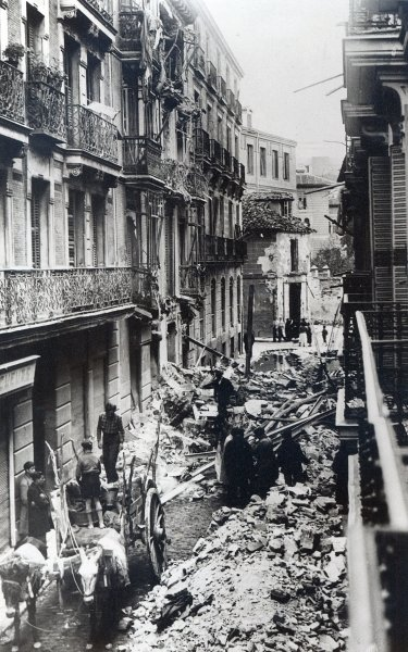 Bomb damage in Madrid, near the Presidential Palace, following a Nationalist air attack, 1936-39 Fine Art Print by Spanish Photographer