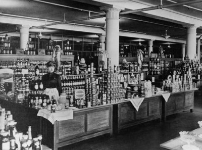 Canned goods counter at Macy's Department Store, Herald Square, New York City, c.1898 Fine Art Print by American Photographer