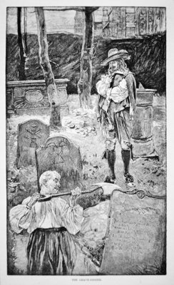 Life in New England in the 17th century - The grave digger Fine Art Print by American School