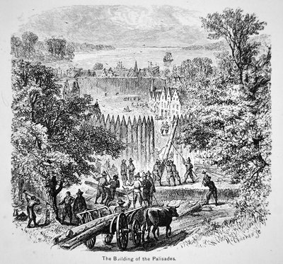 Dutch building the palisades or stockade around New Amsterdam for protection Poster Art Print by American School