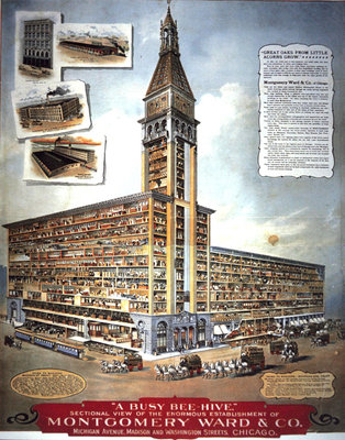 'A Busy Bee Hive': Sectional view of the enormous establishment of Montgomery Ward & Co, 1900 Fine Art Print by American School