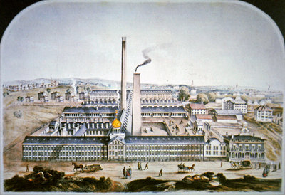 Colt's Patent Firearms Factory at Hartford, Conneticut, 1862 Fine Art Print by American School