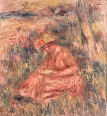 Woman seated on the grass Fine Art Print by Pierre-Auguste Renoir