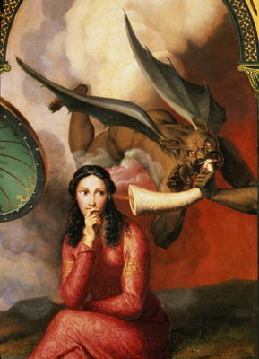 Good and Evil: the Devil Tempting a Young Woman, 1832 Wall Art & Canvas Prints by Andre Jacques Victor Orsel