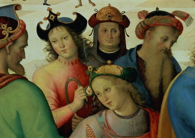The Marriage of the Virgin, detail of the suitors, 1500-04 Fine Art Print by Pietro Perugino