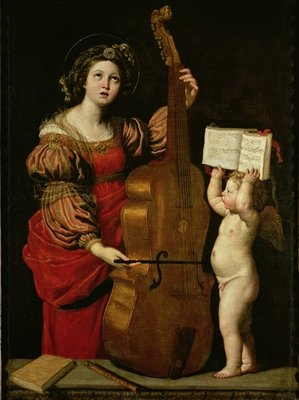 St. Cecilia with an angel holding a musical score, c.1620 Fine Art Print by Domenichino
