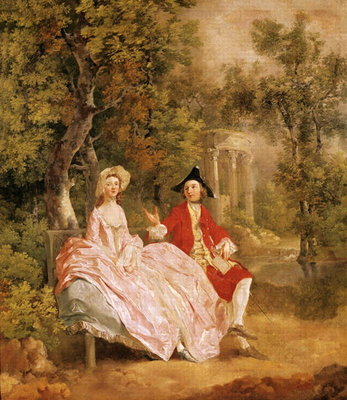 Conversation in a Park, portrait of the artist and his wife, Margaret Burr Fine Art Print by Thomas Gainsborough