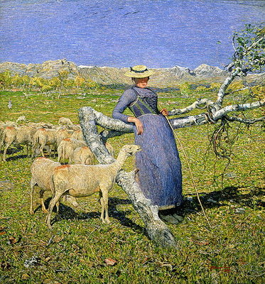 Afternoon in the Alps, 1892 (oil on canvas) Fine Art Print by Giovanni Segantini