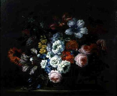 Still Life of Roses, Peonies, Tulips and Morning Glory in a Basket Fine Art Print by Pieter Casteels