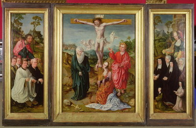 Triptych of The Crucifixion: St. Barbara with Donors Wall Art & Canvas Prints by Cornelis Engelbrechtsen