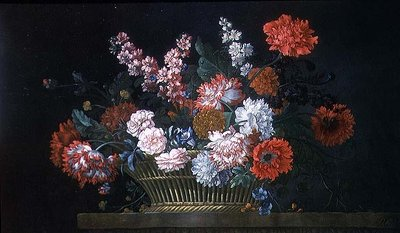 A Still Life of Carnations, Stocks, Peonies, Convolvulus and Other Flowers in a Basket Resting on a Stone Ledge, 1734 Poster Art Print by Pieter Casteels