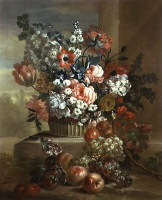 Still life of a basket of flowers and fruit Poster Art Print by Pieter Casteels