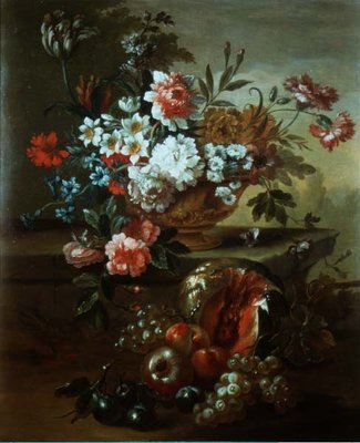 Still life of flowers in an urn with fruit Fine Art Print by Pieter Casteels
