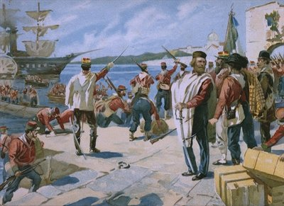 Expedition of the Thousand under the leadership of Giuseppe Garibaldi, landing at Marsala, Sicily, 1860, illustration from an album on the history of Risorgimento made for the chocolate Talmone, late 19th century Fine Art Print by Italian School