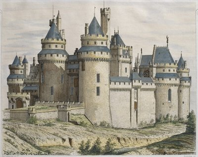 Chateau de Pierrefonds, illustration from 'Le Moniteur des architectes', engraved by Bosredon Postcards, Greetings Cards, Art Prints, Canvas, Framed Pictures, T-shirts & Wall Art by French School