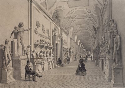 Vatican museums, Chiaramonti Gallery and the entrance of the Braccio Nuovo Gallery, Rome, illustration from the album 'Rome dans sa grandeur', engraved by Philippe Benoist Fine Art Print by Felix Benoist