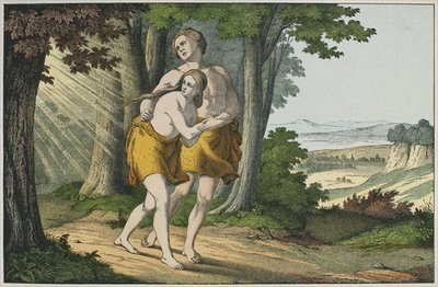 Adam and Eve expelled from paradise, illustration from 'L'Ancien Testament', published by Jakob Ferdinand Schreiber, Esslingen Poster Art Print by German School