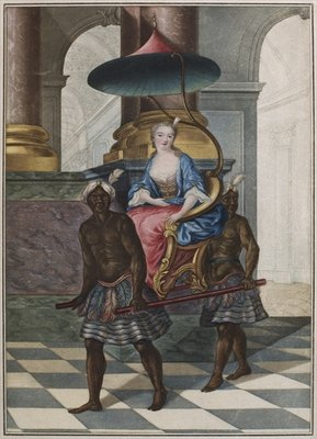 Marchioness being carried in a sedan chair by two black servants Fine Art Print by French School