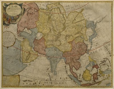 Map of Asia, published in 1700, Paris Wall Art & Canvas Prints by Guillaume Delisle