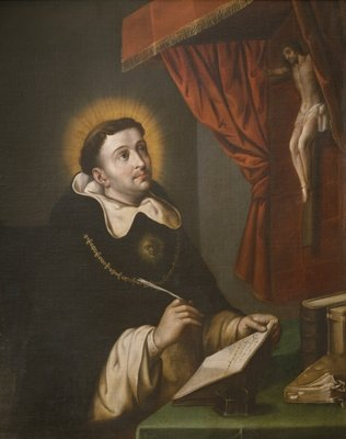 St. Thomas Aquinas writing before the crucifix Fine Art Print by Antonio Rodriguez