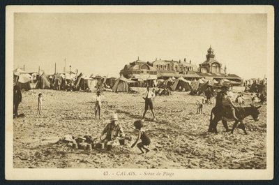Postcard depicting the beach and the Casino in Calais, France, c.1920 Fine Art Print by French Photographer