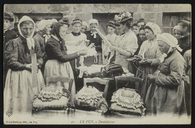 Postcard depicting lacemakers of Le Puy, c.1900 Poster Art Print by French Photographer
