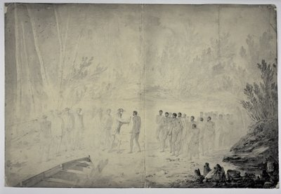 Captain Cook's interview with natives in Adventure Bay, Van Diemen's Land, 29th January 1777, c.1777 Fine Art Print by John Webber