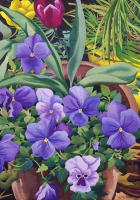 Flowerpots with Pansies, 2007 Fine Art Print by Christopher Ryland