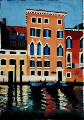 Canal Grande II (oil on card) Fine Art Print by Sara Hayward
