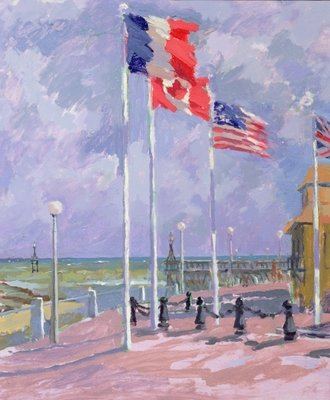 Flags at Courseulles, Normandy (oil on canvas) Wall Art & Canvas Prints by Sarah Butterfield