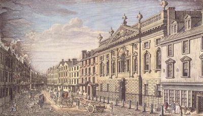 Ironmongers Hall and Fenchurch Street, engraving, after I. Donawell, c.1750 Wall Art & Canvas Prints by Thomas Bowles