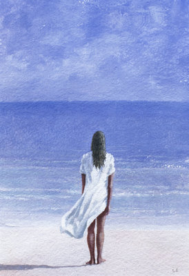 Girl on beach, 1995 Fine Art Print by Lincoln Seligman